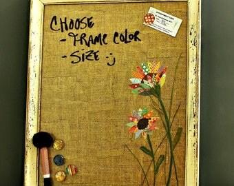 For Rhiann, Magnetic Board, Dry Erase Board, Message Board, Framed Magnet Board, Flowers, Housewarming Gift, Wall Organizer, Dorm Decor
