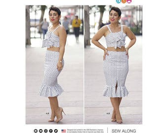 Simplicity Pattern 8394 Misses' Top and Skirt. MiMi G Style Collection. Size 20w-28w. Pattern is new and uncut.