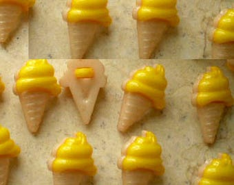 LOT 10 buttons beige yellow ice cream cone 1 hole 13 * 20mm