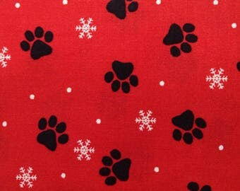 One Half Yard of Fabric Material - Christmas Paws Black on Red