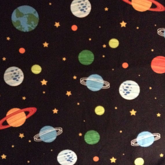 one 1 yard piece of fabric material orbit outer space
