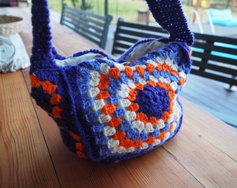 Vintage Ladies HandBag-Crochet Bag-Retro Shoulder Bag-Purple and Orange Handmade Bag-1970's