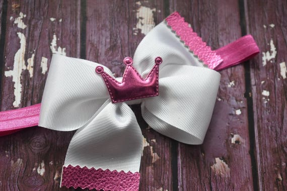 Princess Fuchsia Pink and white grosgrain bow with a crown - Baby / Toddler / Girls / Kids Headband / Hairband / Barrette / Hairclip