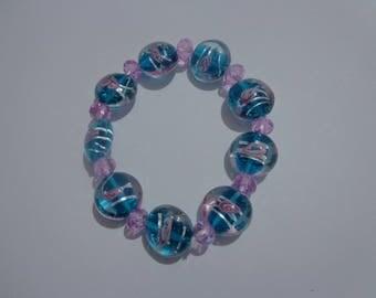Blue Lampwork Bracelet, Blue Stretch Bracelet