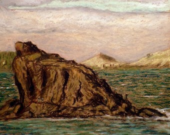 "Original Oil Pastel Painting, 9.5"" x 12.5"", Small size art, Impressionist Art, Playa del Burrero, Seascape, Nautical, Atlantic, Wall Decor"