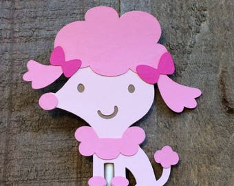 Pink Poodle Cupcake Topper Puppy Animal Birthday Baby Shower Decor Decoration