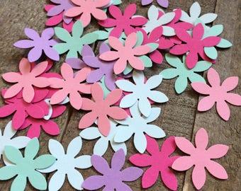 Pink Purple Teal Flower Confetti / Wedding Confetti / Flower Table Decor / Table Scatter / Elegant Decoration / 100 Pieces