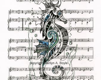 ZENTANGLE PRINT SEAHORSE; pen and ink drawing, music sheet, colored, 8.5 x 11 inches, certificate size, original print, wall art