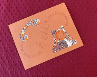 Rust Paisley Hello Note Card