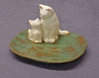 Handmade Ceramic Dish with Two Cats - Mother, kitten ,Trinket Holder, Ring Holder, Jewelry Holder, Mother's day