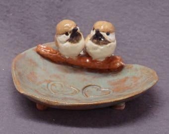 Ceramic Bird Dish, Ring Holder, Catch-All, Candle Holder, Jewelry Dish, Love Birds, Pink Flowers, Romantic, Wedding Gift, Valentine's day