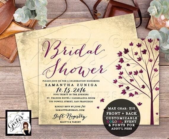 Bridal shower invitation printable, fall shower invites, burgundy wedding shower invitations, Autumn invitation digital, 7x5 double sided.