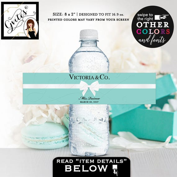 "Quince water bottle labels, breakfast at tiffany's themed, mis quince, party favors, gift, bottle sticker, wrapper  8x2""/5 Per Sheet"
