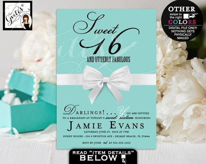 Sweet 16 Invitation Breakfast birthday printable invitation, breakfast at co, turquoise blue, 16th birthday invitation, digital file.