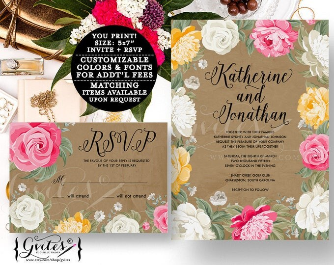 Pink and beige wedding invitation, hot pink, peony, peonies wedding, peony wedding invitations pdf, invites, printable, double sided.