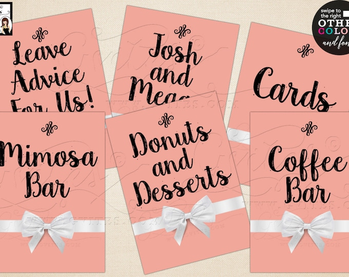 """Wedding Signs Printable, Custom Party Signs, Mimosa Bar, Coffee Bar, Gifts, Cards. Max Chars: 20. Set of 6 {4x6"""" or 5x7""""} Digital File!"""