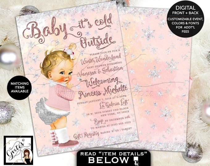 Winter Wonderland Baby Shower Invitations, Baby Girl Winter Pink and Silver, Baby it's Cold Outside, 5x7 double sided, DIY, DIGITAL!