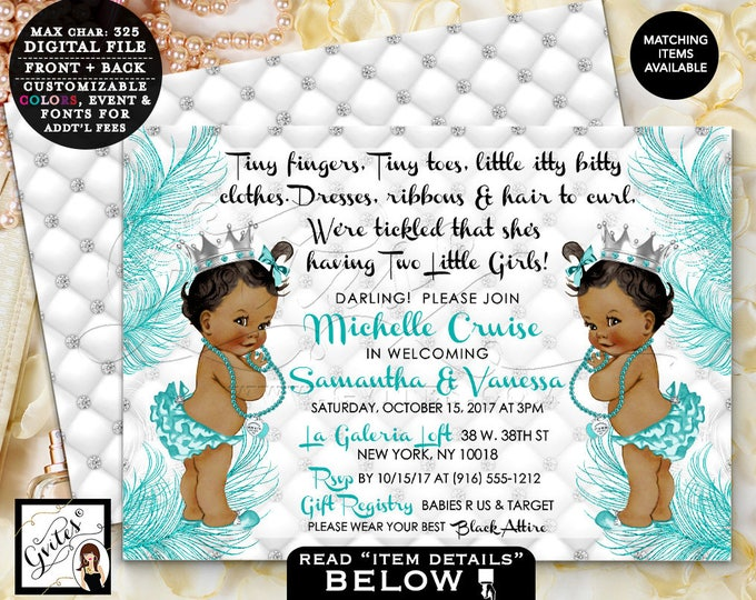 """Twins Baby Shower Baby Invitation, Baby Co tiny fingers tickled baby invites, African American Princess, Vintage, Digital, 7x5"""" double sided"""