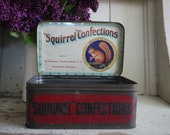 Vintage Tin - Vintage Candy Tin - Vintage Sweet Tin - Vintage Advertising Tin - Vintage English TIn - Squirrel Confections - Sweet Candy Tin