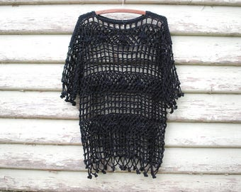 Vintage 90s Black Crochet Over Top Beach Wear Boho Hippie Shirt Cotton Goth Vtg 1990s Size S-M