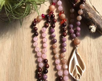 Island Skies hand knotted mala necklace