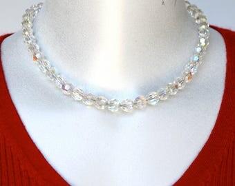 Aurora Borealis Crystal Necklace Vintage