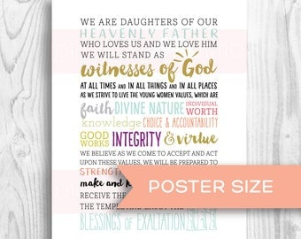 LDS Young Women Motto poster size - 2018 Mutual Theme - Peace in Christ