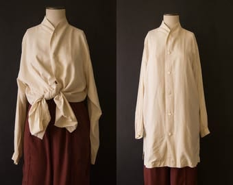 vintage 1990s blouse / 90s cream silk tunic / Shirin Guild