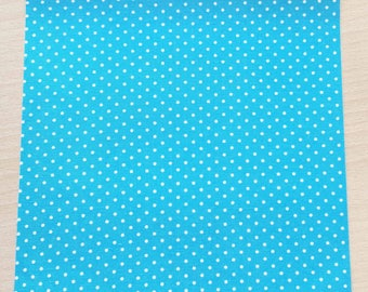 Fabric adhesive pattern: 210 x 290 mm (A4) turquoise polka dots