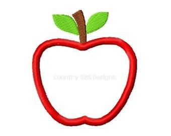 Apple Applique Embroidery Design  -INSTANT DOWNLOAD-