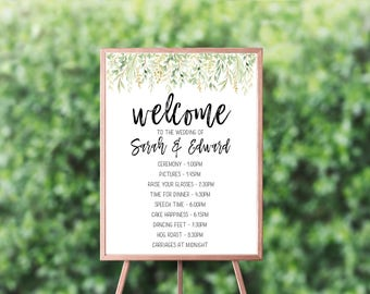 Order of the day Wedding Sign, Printable Wedding Sign, Printable sign, Wedding day timeline, Greenery wedding timeline sign