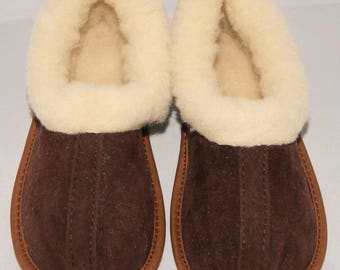 Womens Suede Leather Sheeps Wool Slippers