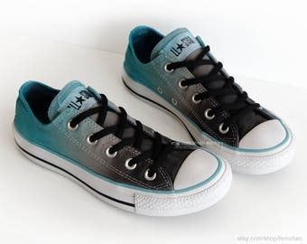 Ombré dip dye Converse, graphite grey, turquoise, low tops, tie dye sneakers, upcycled vintage shoes, size EU 36.5 (UK 4, us wo's 6, mens 4)
