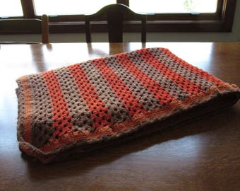 Mod, Retro, Brown and Orange Vintage Afghan, Crochet Blanket, Throw, Crochet Orange & Brown Retro , Handmade,Warm Winter Gift,Cleveland,BGSU