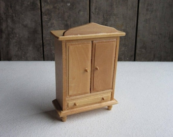 Vintage Dollhouse Armoire, Wardrobe, Wood Doll House Bedroom Furniture, Cabinet, Closet,Natural Wood,Contemporary Miniature Bedroom Wardrobe