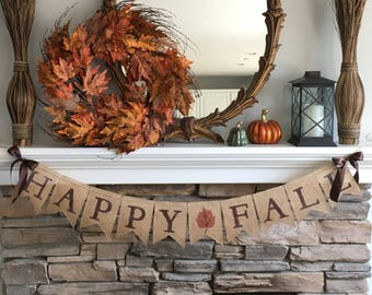 Fall Decor,Happy Fall Burlap Banner,Fall Burlap Banner, Fall Banner, Fall Decorations for Mantel, Fall Decorations for Fireplace #0166