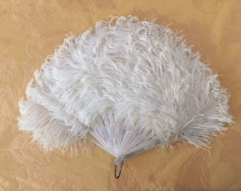 OSTRICH FEATHER FAN with white feathers & mother of pearl ribs comes in original box from the Cawston Ostrich Farm in Pasadena, circa 1900.