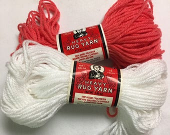 Two Skeins Aunt Lydias Heavy Rug Yarn Color White and Watermelon
