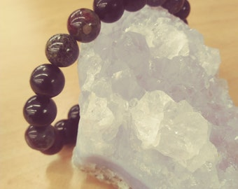 Shungite  10mm beads with  bloodstone  7.5""