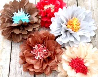 Set of 6 giants tissue paper flowers poparty-paper flowers-home decor-party decoration-anniversary-party poms- poms 2 in 1 -birthday