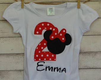 Personalized Initial or Birthday Number Tractor with Mouse Head Applique Shirt or Onesie Girl