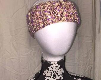Crochet Beige with Pink and Purple Polka Dots Headband and Ear Warmer
