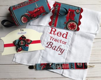 Boys pacifier clip and burp cloth custom baby gift international harvester baby gift set international harvester burp cloth red tractor pacifier clip negle Images