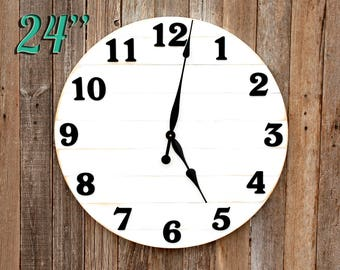 "Large Wall Clock Farmhouse Clock Wood Clock Large Clock Big Clock Round Clock Wooden Wall Clock Rustic Clock Farmhouse Style Clock 24"" Clock"
