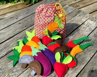 Small bag of vegetables, toy felt and fabric, dinette, market garden vegetables