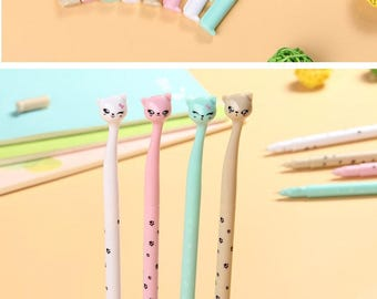 X 1 cat Seagreen rollerball pen
