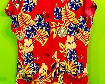 SALE 40s Hawaiian Rayon Teatimer Watmulls S/M