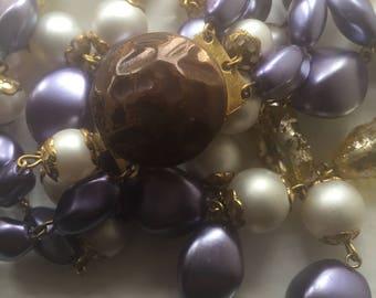 Statement vintage 50s 3 strand purple/white/gold necklace. Fabulous.