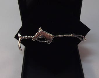Beautiful Horse and Whip Sterling Silver Bar Brooch