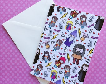 Hello Quirky Wizards Greeting Card- Geeky Stationary, Any Occasion, Limited Edition, Fan Art